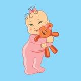 Child and bear. Vector illustration. Child hugging a teddy bear. Vector illustration Royalty Free Stock Photos