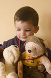 Child with bears. 2 years boy portrait Stock Photo