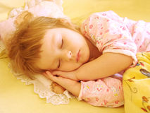 The child in the bed Stock Image