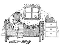 Child in bed royalty free stock photos