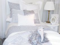 Child bed with blue dog in a separate room.  Stock Images