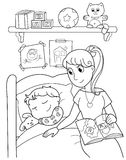 Child at bed with mom. A young boy is sleeping in his bed with his mom. Black and white cartoon illustration Stock Photo