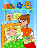 Child at bed with mom. Young boy sleeping in his bedroom with mom. Digital cartoon illustration Stock Image