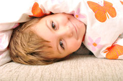Child in the bed Stock Photo