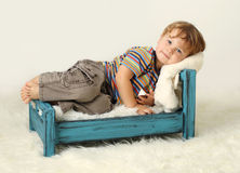 Child on Bed Stock Photos