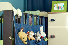 Child bedroom  with bed and chest of drawers Royalty Free Stock Images