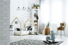 Child bedroom with brick wall Royalty Free Stock Photos