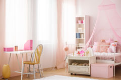 Child bedroom with canopy bed Stock Photos