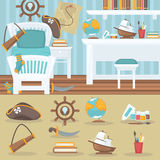 Child bedroom interior for boy. Royalty Free Stock Images