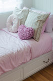 Child bedroom with pink bed Royalty Free Stock Images