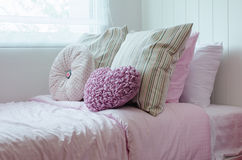 Child bedroom with pink bed at home Stock Images