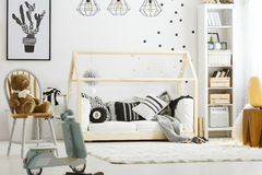 Child bedroom with wood bed Stock Photography