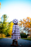 Child from behind. Two year old walking on a path with beautiful fall colors in the background Stock Photos