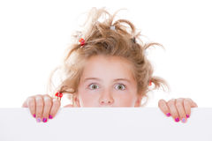 Child behind empty board Royalty Free Stock Image