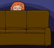 Child Behind Sofa Royalty Free Stock Photo