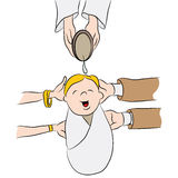 Child Being Baptized Cartoon Stock Image