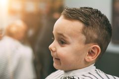 The child is being cut hairstyles. In the hairdressing salon stock image