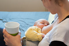 Child being nursed by the mother Stock Photos