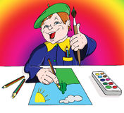 A child in a beret draws Stock Photography