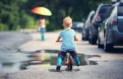 Child on a bicycle Royalty Free Stock Images