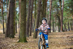 Child on a bicycle in the forest in early morning. Boy cycling o Royalty Free Stock Images