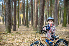 Child on a bicycle in the forest in early morning. Boy cycling o Stock Photos