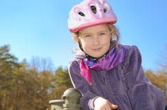 Child in a bicycle helmet. Royalty Free Stock Images