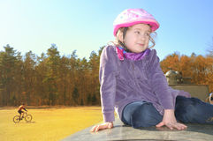 Child in a bicycle helmet. Stock Photography