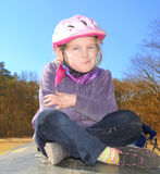 Child in a bicycle helmet. Royalty Free Stock Photography