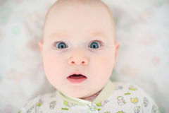 Child with big blue eyes. Surprised close-up Royalty Free Stock Photo