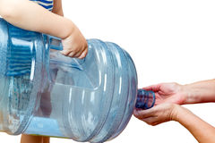 Child with a big bottle Stock Photo