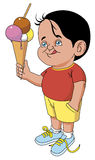 Child with big cornet ice cream. Vector Child with big cornet ice cream Royalty Free Illustration