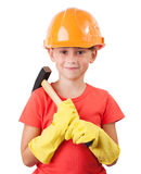 Child with a big hammer. Child in a protective helmet with big hammer Stock Photos