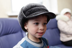 Child in big hat. Portrait of a child in the big hat royalty free stock 5a2518dfe7a