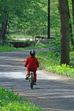Child on bike. A child rides on bicycle cross beautiful alley Stock Photo