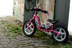 Child bike in the city stock photos