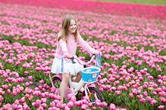 Child on bike in tulip field. Bicycle in Holland. Child riding bike in tulip flower field during family spring vacation in Holland. Kid cycling in pink tulips royalty free stock photo