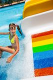 Child in bikini sliding water park. Happy kid little girl in yellow bikini sliding water park Royalty Free Stock Photo