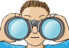 Child with binoculars. Boy with binoculars looking away Royalty Free Stock Photography