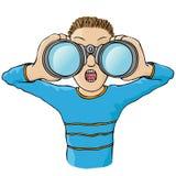 Child with binoculars. Boy with binoculars looking away Stock Photo