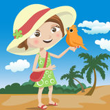 Child and bird Stock Images
