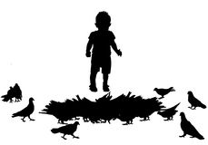 Child and birds Royalty Free Stock Image