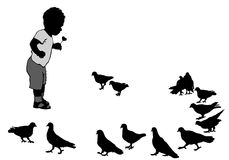 Child and birds Stock Photo