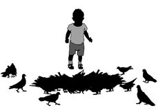 Child and birds Stock Images