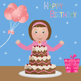 Child with birthday cake - girl vector illustration