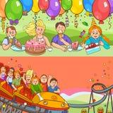 Child Birthday Cartoon Banner Set Royalty Free Stock Images