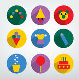 Child birthday colorful pictogram. Stock Photo