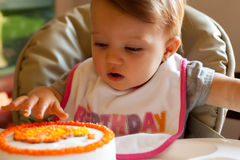 Child Birthday First Touch Royalty Free Stock Photo