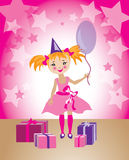 Child birthday illustration. Little baby girl celebrating birthday Royalty Free Stock Image