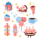 Child Birthday Party Sweets And Attributes. Girly Colors Stylized Smiling Characters With Celebration Decorations. Flat Vector Stickers On White Background Royalty Free Stock Photo